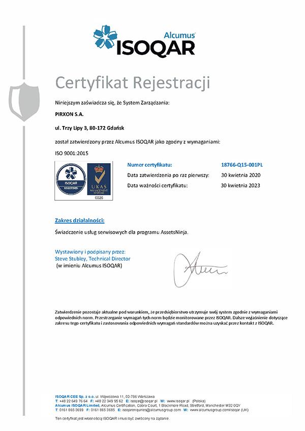 AssetsNinja ISO 9001:2015 Certyfikat PL